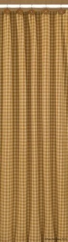 Sturbridge Shower Curtain Mustard Tan Plaid Country Primitive Home Bath Dcor