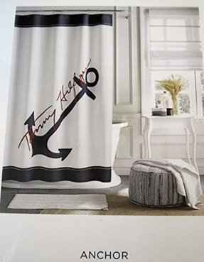 Tommy Hilfiger Anchor Shower Curtain - Navy Blue and White -72 X 72
