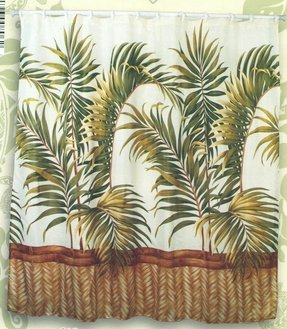 Tropical fabric shower curtain 1