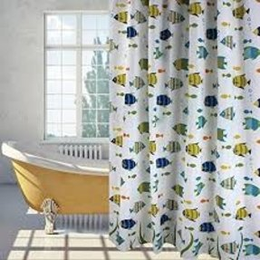 Uphome Ocean Fishes Waterproof Anti-Mildew Polyester Fabric Heavy-Duty Bath Curtain Shower Curtain Bathroom Decorative 72x72 Inch with Hooks
