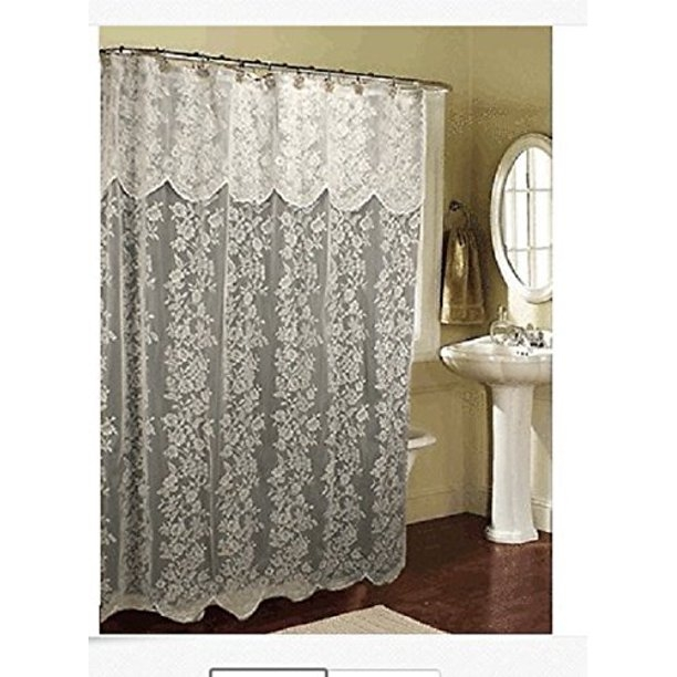 White Lace Fabric Shower Curtain W Attached Valance Bright White Lace New