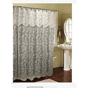 White lace fabric shower curtain w attached valance bright white