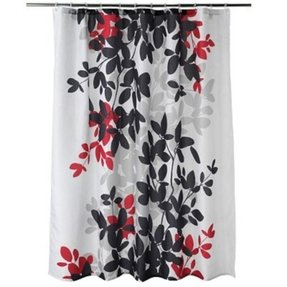 Zen floral black gray burgundy white quality luxury fabric shower