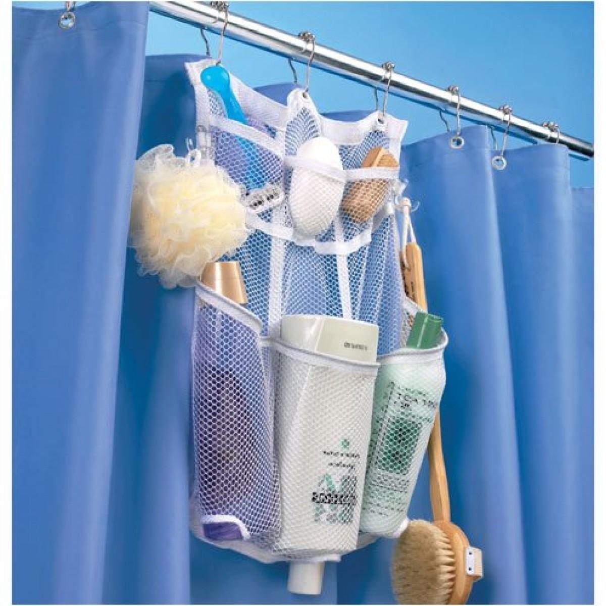 Great Bath Shower Accessories Shower Caddies Mesh Shower Rod Organizer