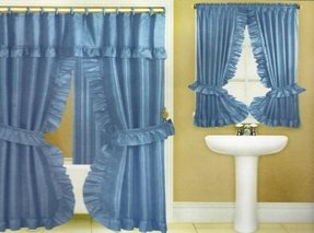 Double Swag Fabric Shower Curtain Valance Liner Window Assorted