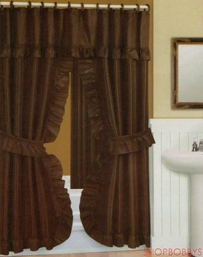 Double Swag Shower Curtain With Liner Set Chocolate 70x72