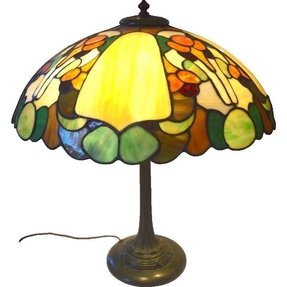 Duffner and kimberly gourd pattern leaded stain glass table lamp