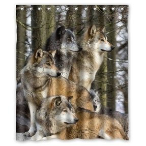 "Generic Personalized Groups Of Wolfs Wild Animal Design Sold By Too Amazing Shower Curtain Bath Decor Curtain 60"" x 72"""