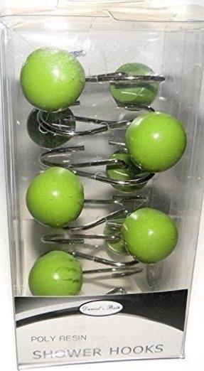 Green Polyresin Balls Decorative Metal Shower Curtain Hooks Set Of 12