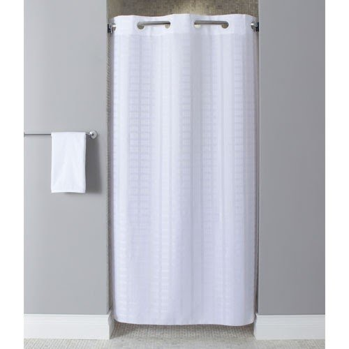 Stall size 100/% Polyester fabric shower curtain liner with weighted bottom he...