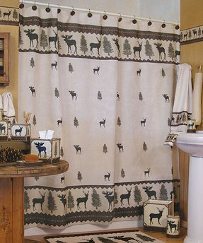 Lodge rustic shower curtain 4