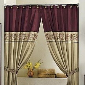 Double swag shower curtain foter - Jcpenney bathroom window curtains ...