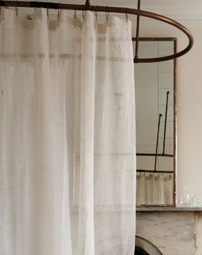 Ready made woven sheer linen shower curtains easily soften a