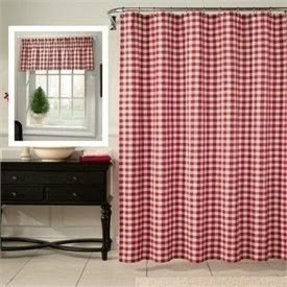 Red plaid shower curtain 5