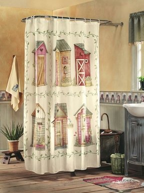 Rustic Outhouse Checker Trim Bathroom Shower Curtain From