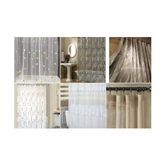 Sheer fabric shower curtain