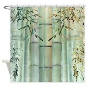 Tropical bleached bamboo shower curtain for 1