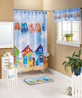 Tropical Paradise Bathroom Shower Curtain Towel Hooks Soap Beach Flip