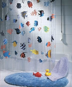 Vinyl fish shower curtain 2