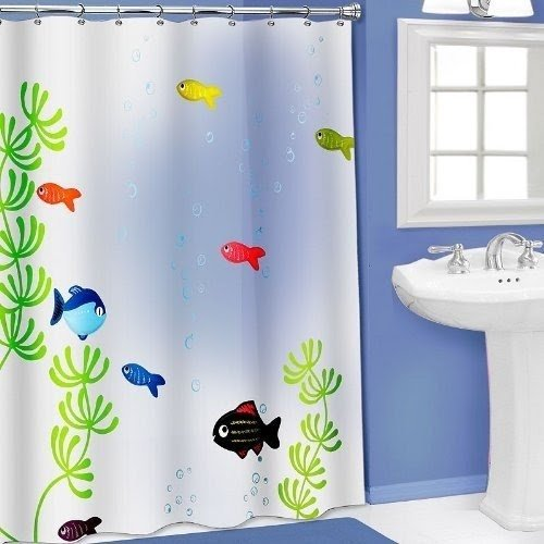 Charmant Vinyl Fish Shower Curtain