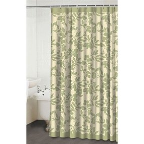 Waverly leaves beige green shower curtain