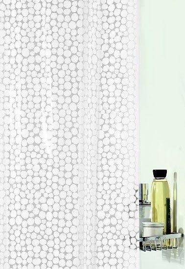 White Pebble Shower Curtain Jpg