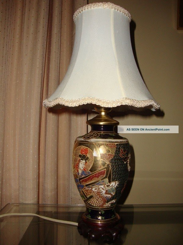 Antique Chinese Cloisonne Vase Lamp Brass And Porcelain Vases Photo