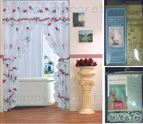 Double swag polyester shower curtain 1