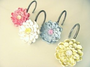 Flower shower curtain hooks 1