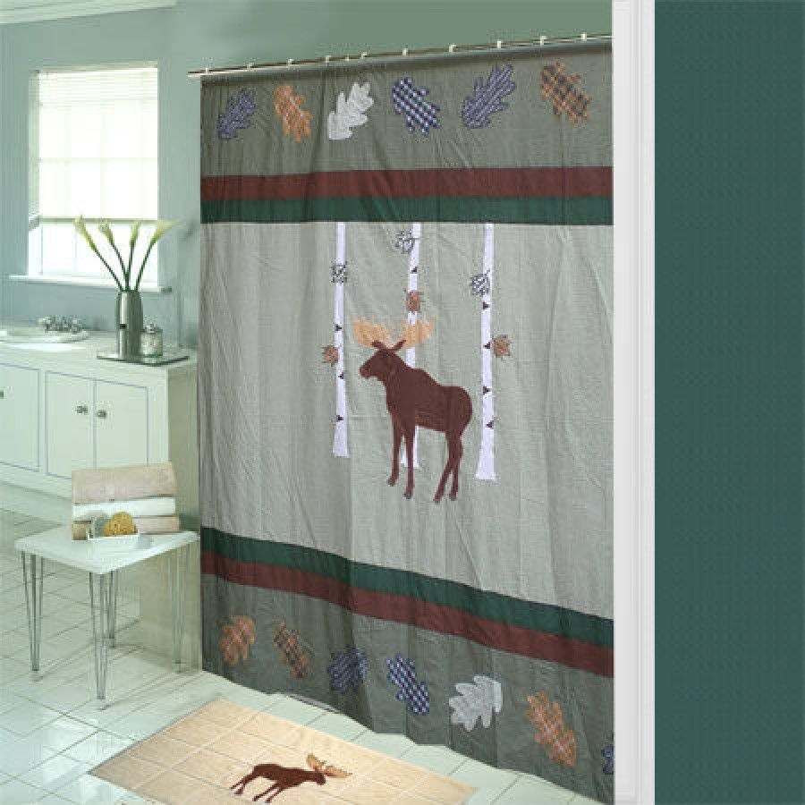 Moose Bear Shower Curtain 1
