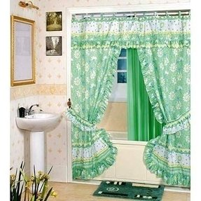 Printed double swag shower curtain printed double swag shower curtain