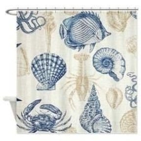 Sea life in blue shower curtain 1