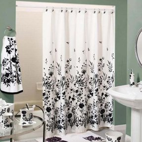 Shower Curtain Black White 2