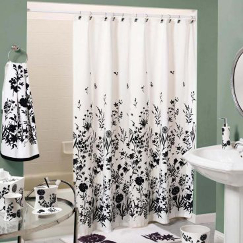 Delightful Shower Curtain Black White 2