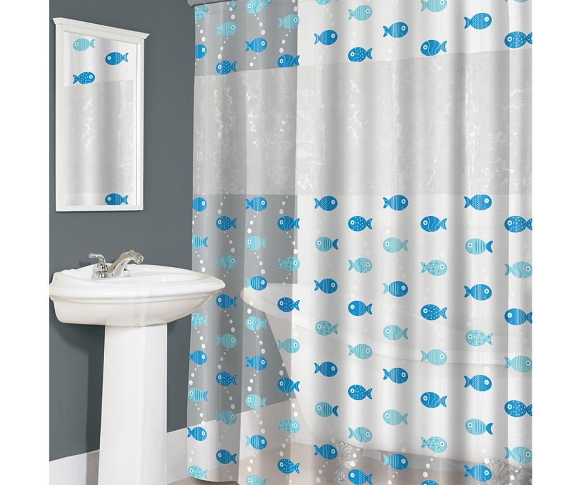 Splash Home 3d Fish Peva Vinyl Shower Curtain