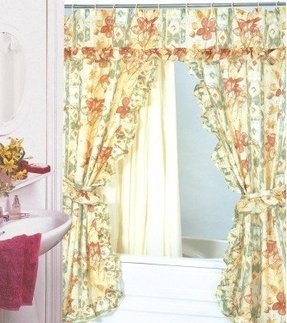 View large image of double swag shower curtain pvc liner