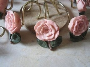 Vintage flower shower curtain hooks coral by jewelsofhighelegance 12
