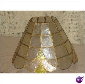 Vtg colourful scallop edge capiz lamp shade shell