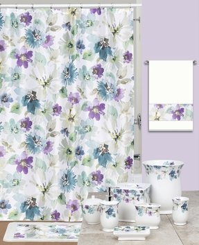 Watercolor Bouquet Shower Curtain And Hook Set Contemporary Curtains