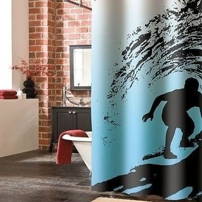 Wild Surf Shower Curtain Closet Door