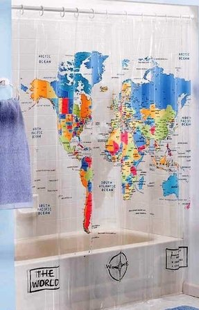Map shower curtain foter world map fabric shower curtain gumiabroncs Gallery