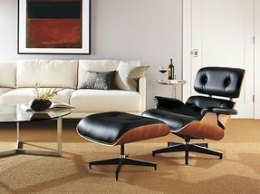MLF Plywood Eames Lounge Chair & Ottoman in Premium Top Leather
