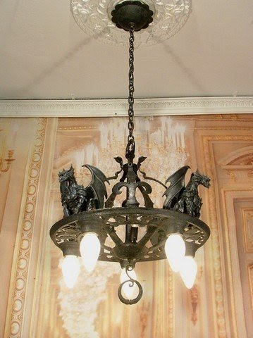 Stunning Antique Vintage Style Art Deco Gothic Gargoyle Cast Iron Chandelier