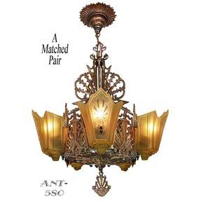 Antique Re Bronzed Finish Art Deco Slip Shade Chandelier B Jpg