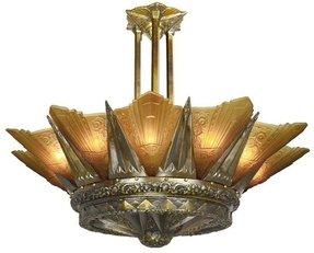 Art deco slip shade chandelier foter antique chandeliers ebay aloadofball Image collections