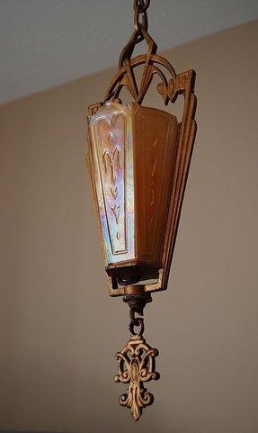 Art deco slip shade chandelier foter antique chandeliers on ebay aloadofball Image collections