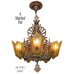 Art deco slip shade chandelier 15