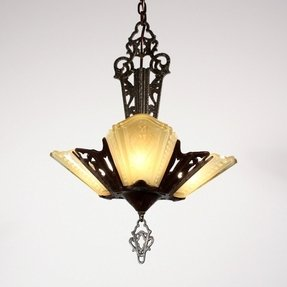 Art deco slip shade chandelier 28