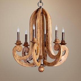 Carved Wood 6 Light Chandelier Ideas On Foter