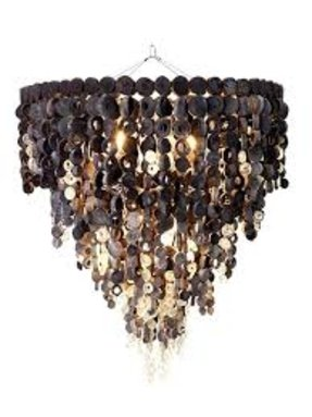 Recycled glass chandelier foter charcoal and recycled glass disk chandelier 83cm x 105cm h mozeypictures Image collections